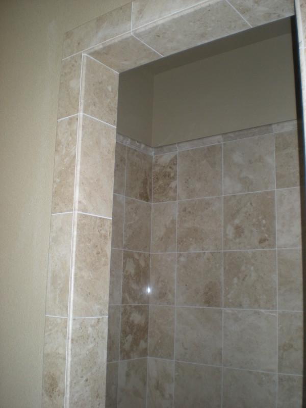 Tiled Shower Edge marble and travertine custom shower - redding ca quality custom