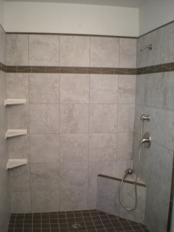 Custom Tile Shower With Shelves Amp Bench Redding Ca