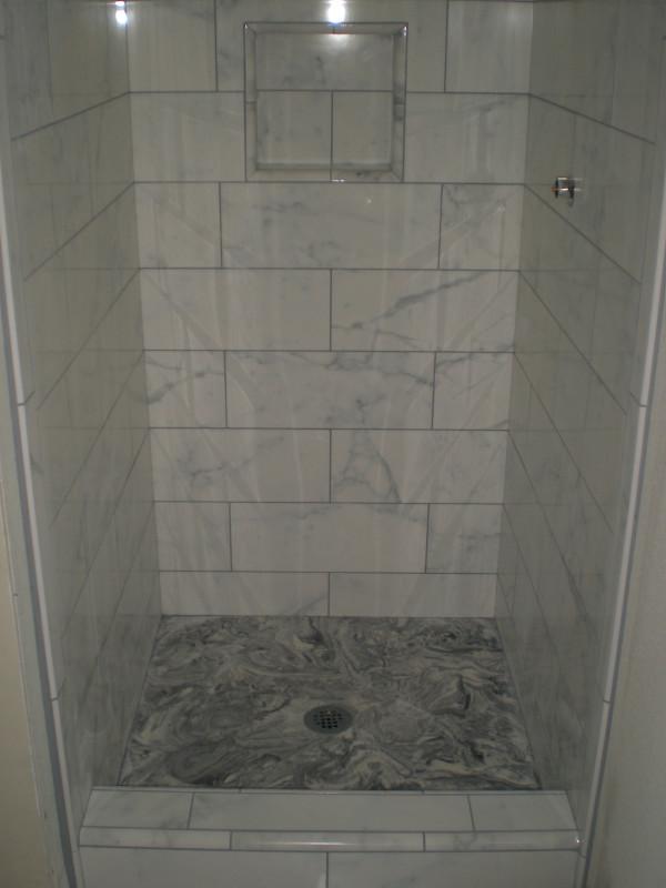 Faux Marble Custom Tile Bathroom Floor And Shower