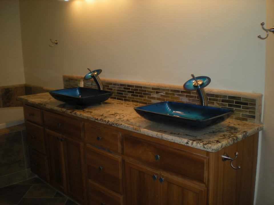 Custom Bathroom w/Granite Slab Counter, Cascading Faucets & Tile ...