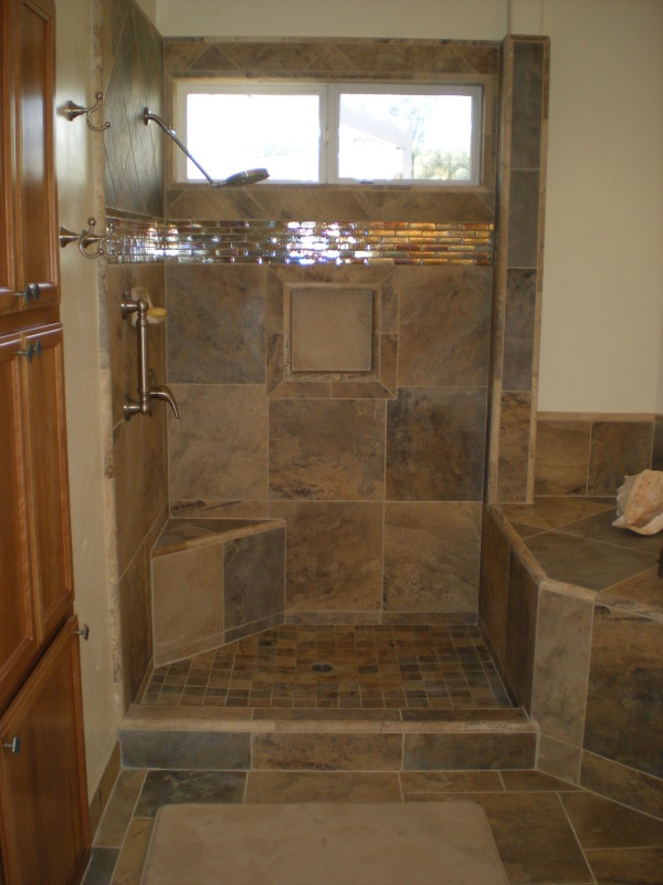 Custom Bathroom Wgranite Slab Counter Cascading Faucets Tile