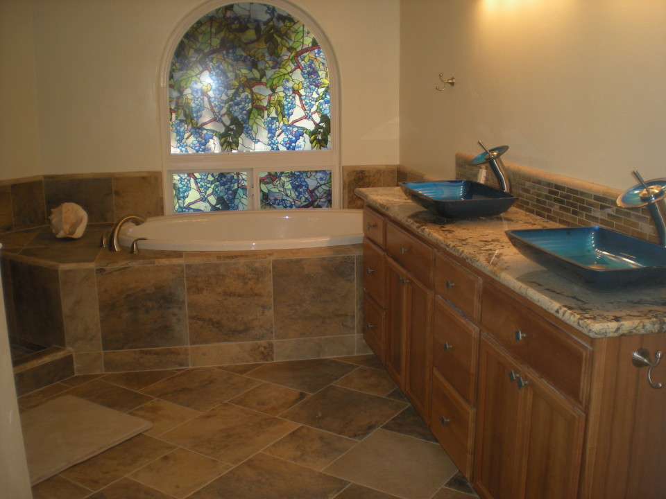 custom bathroom wgranite slab counter cascading faucets tile - Tile Bathroom Countertop