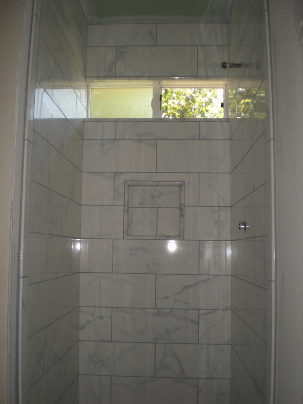 Faux Marble Porcelain Tile Shower in Redding, California