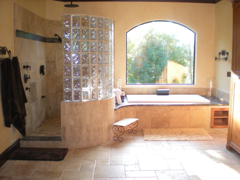 travertine tile custom bathroom in redding - Bathroom Designs Using Glass Blocks