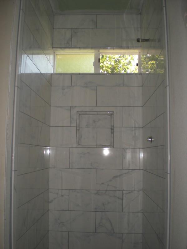 Faux Marble Porcelain Tile Shower in Redding, California